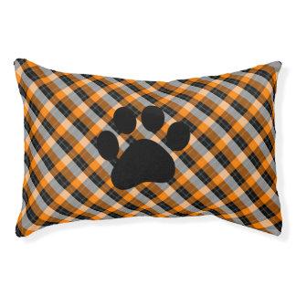 Plaid /tartan pattern orange and Black Pet Bed