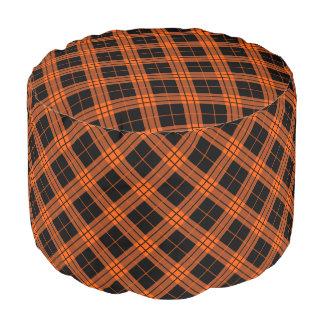 Plaid /tartan pattern orange and Black Pouf