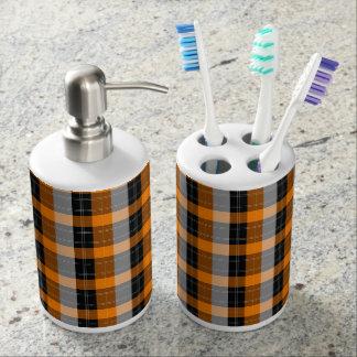 Plaid /tartan pattern orange and Black Soap Dispenser And Toothbrush Holder