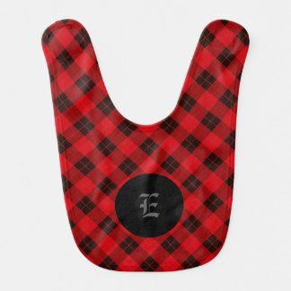 Plaid /tartan pattern red and Black Bib