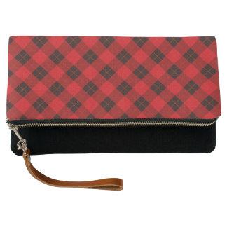Plaid /tartan pattern red and Black Clutch