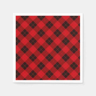 Plaid /tartan pattern red and Black Disposable Napkin