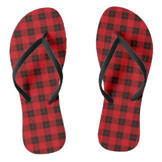 Plaid /tartan pattern red and Black Flip Flops