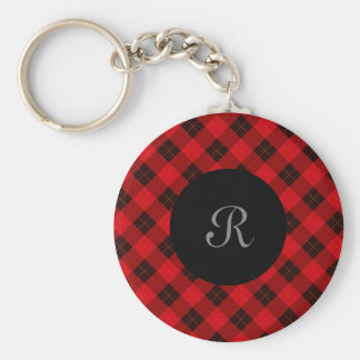 Plaid /tartan pattern red and Black Keychain