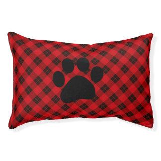 Plaid /tartan pattern red and Black Pet Bed