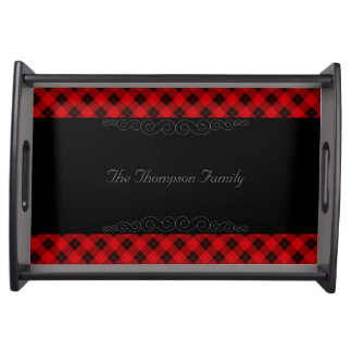 Plaid /tartan pattern red and Black Serving Tray
