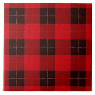 Plaid /tartan pattern red and Black Tile