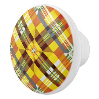 Plaid / Tartan - 'Sunflower' Ceramic Knob