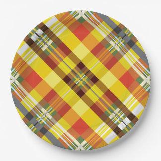 Plaid / Tartan - 'Sunflower' Paper Plate