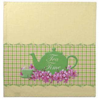 Plaid Tea Time Teapot Spring Pinks Printed Napkins
