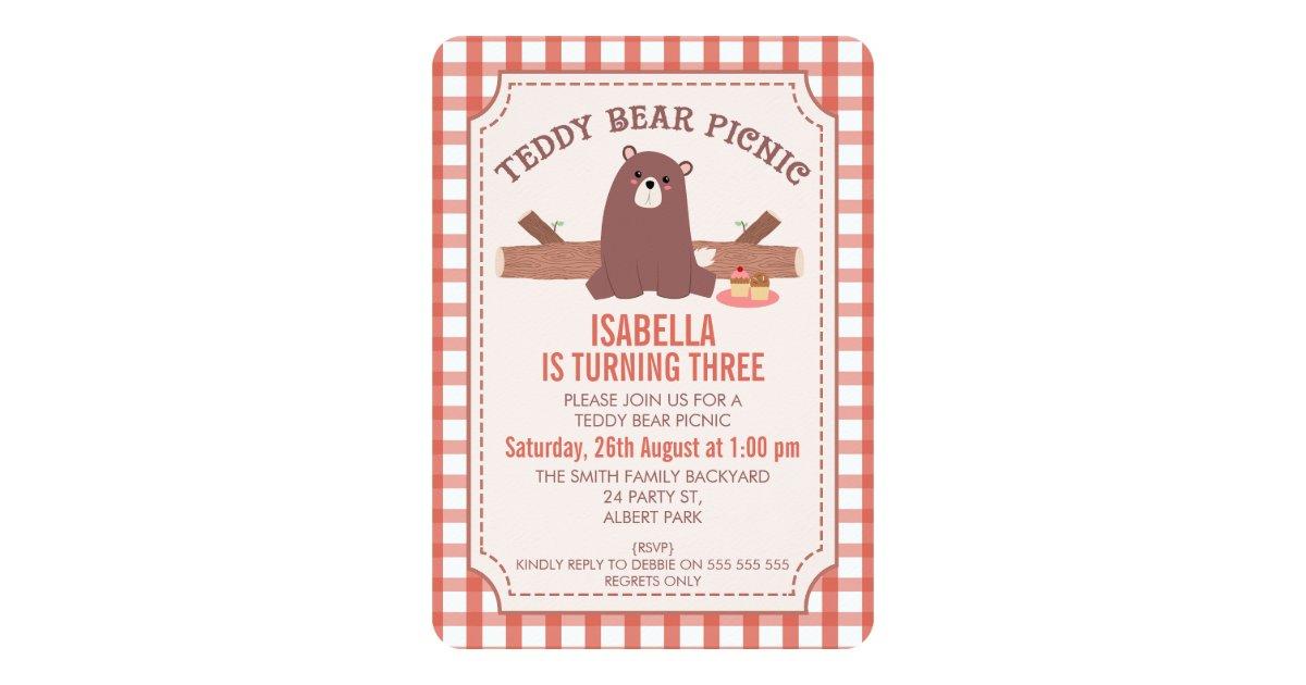 Plaid Teddy Bear Picnic Birthday Invitation   Zazzle.ca