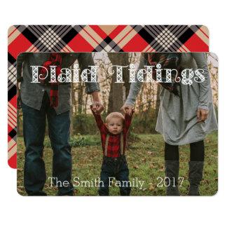 Plaid Tidings Tan Red BlackPlaid Back Holiday Card