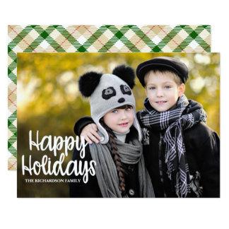 Plaid Typography Big Photo Holiday Flat Card