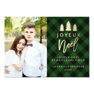 Plaid Vert Joyeux Noël | Carte De Noël Carton D'invitation 12,7 Cm X 17,78 Cm