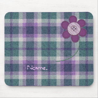 Plaid With Flower Mouse Pad