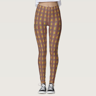 Plaid with Yellow Triangles Leggings