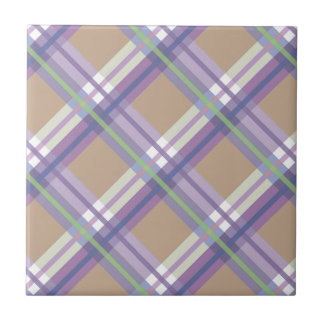 Plaids, Checks, Tartans Sand Lavender and Mint Tile