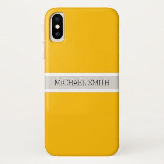 Plain Amber Background Modern Elegant Name iPhone X Case