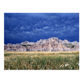 Plain Badlands, Prairie and Clouds South Dakota Postcard