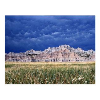 Plain Badlands, Prairie and Clouds South Dakota Postcard