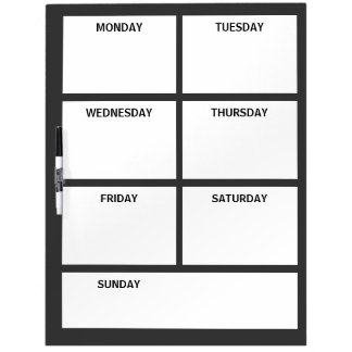 Plain Basic Simple Black White Days of the Week Dry-Erase Boards