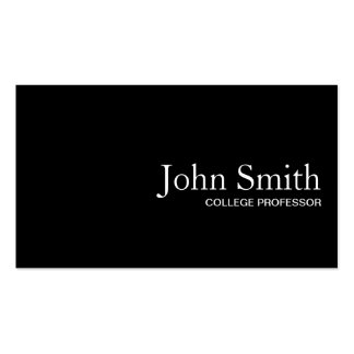 Plain Black QR Code Professor Business Card
