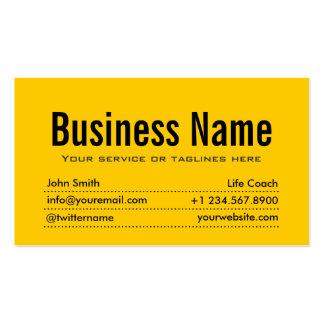 Plain Black & Yellow Life Coach Business Card