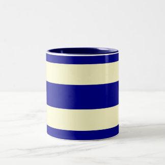 Plain Blue and Cream Striped>  Mug