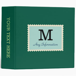 Plain Castleton green Background Monogram Vinyl Binder