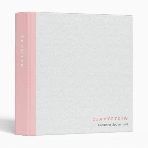 Plain Elegant Modern Simple Pink Stripe on White Binder