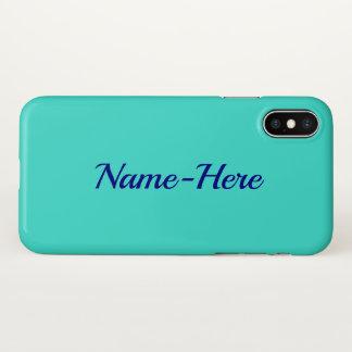 Plain, Elegant, Turquoise Background & Blue Name iPhone X Case