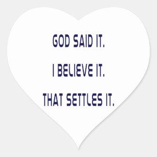 Plain God Said It Heart Sticker