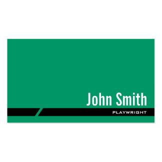 Plain Green Black Stripe Playwright Business Card
