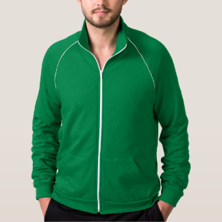 Plain green, white fleece track jacket for men