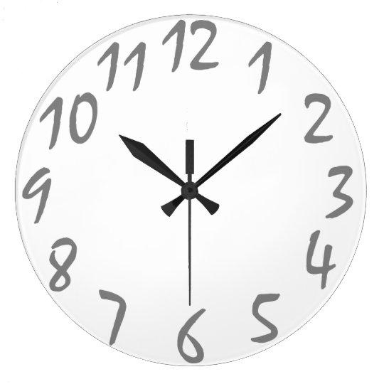 plain handwriting numbers wall clock