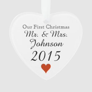 Plain Heart 1st Christmas Mr. & Mrs. Newlywed Ornament