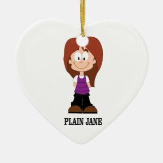 plain jane brunnette ceramic ornament