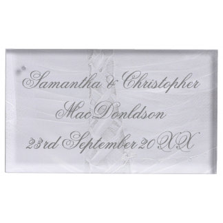 Plain laced white wedding dress wedding table card holder