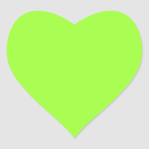 Plain Lime Green Background. Heart Stickers | Zazzle