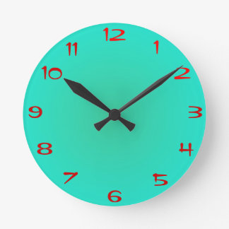 Plain Lime Warm Green >Kitchen Clock with Numbers
