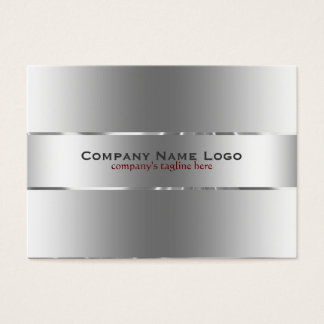 Plain Metallic Silver Design Stainless Steel Look Business Card