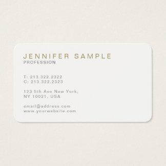 Plain Modern Elegant White Gold Stylish Simple Business Card