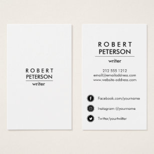 Social media business cards business card printing zazzle ca plain modern minimal social media icon vertical business card reheart Gallery