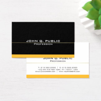 Plain Modern Professional Black Gold Simple Business Card