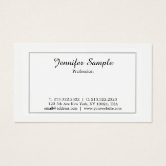 Plain Modern Professional White Simple Minimalist Business Card
