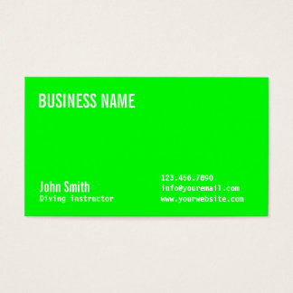 Plain Neon Green Diving Business Card