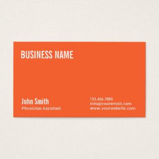 Plain Orange Physician Assistant Business Card
