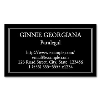 Plain Paralegal Magnetic Business Card