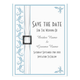 Plain pastel blue and white lace save the date postcard