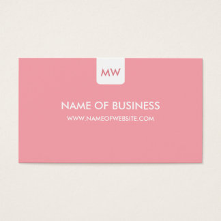 Plain Pink Chic Monogram Modern Social Media Business Card